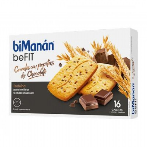 BIMANAN - BE FIT GALLETAS CEREALES CON PEPITAS DE CHOCOLATE (16UDS)